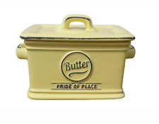 T&G Woodware Pride of Place QUALITY Stoneware Butter Dish in Soft Yellow