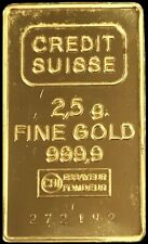 CREDIT SUISSE SWITZERLAND GOLD 2.5 GRAMS .9999 FINE BAR