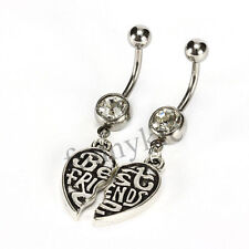 2pc Best Friends Clear Belly Navel Ring Body Piercing Jewelry USA Shipper #12