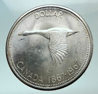 1967 CANADA CANADIAN Confederation Founding with GOOSE Silver Dollar Coin i82154