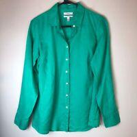 J.Crew | Women's Green 100% Linen Button Down Shirt Size 4