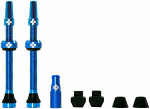 Muc-Off Tubeless Valve Kit: Blue, fits Road and Mountain, 60mm, Pair