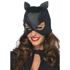 LA-2625 Sexy Black Faux Leather Cat Mask Super Hero Woman Halloween Costume