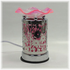 Metal/Glass Electric Touch  Fragrance Lamp Oil Warmer Wax Melts Pink Flower