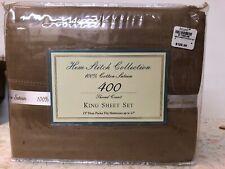 Hem Stitch Collection King Sheet Set.400 Tc 100% Cotton Satin. New