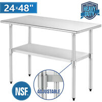 "Commercial Prep & Work Table 24""x48"" Stainless Steel Food Kitchen Restaurant"