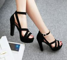 Womens Ankle Strappy Buckle Sandals Block High Heels Platform New Shoes Plus Sz