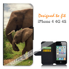 Apple iPhone 4 4G 4S Wallet Flip Phone Case Cover Elephant Baby Y00791