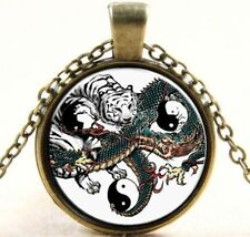 WHITE TIGER & DRAGON New CHI YIN YANG Handcrafted Bronze Necklace USA SELLER