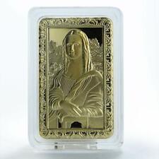 Mona Lisa, Da Vinci, Picture,  Gold Plated bar, Commemorative