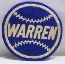 Vintage Baseball Patch Warren Round Felt Wisconsin Blue 3 1/2 inch