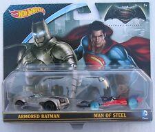 Batman Vs Superman Hot Wheels Twin Pack Armored Batman + El Hombre de Acero Fundido a Troquel