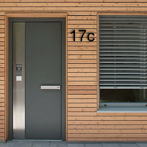 HOUSE NUMBER LETTER Arial Acrylic Large Floating Stylish Modern Gloss Black DIY