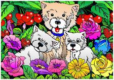 Tableau à colorier en velours - TROIS CHIOTS - Neuf