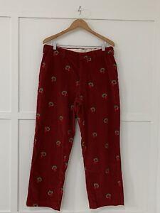 Mens Vintage Orvis Christmas Wreath Corduroy Pants Sz 36 X 29.5 GUC