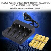 8 Pcs 3.7V CR123A 16340 2800mAh Yellow GTL Rechargeable Li-Ion Battery AU