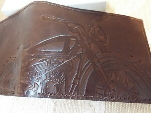 FOSSIL Brown Leather RFID Blocking Embossed Motorbike Bike Wallet + fossil box