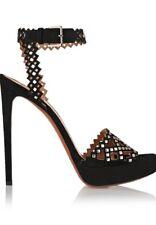 Azzedine Alaïa Black laser cut suede platform studded sandals Size 37 1/2 US 7.5
