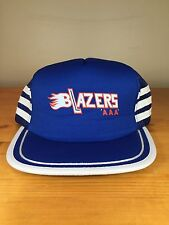 Blazers AAA Trucker Hat Snapback Mesh Cap Blue White Flames Hockey Adjustable