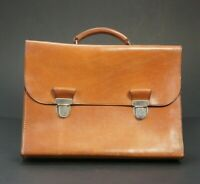 Quality Tan Bridle Leather Double Lock Executives Briefcase