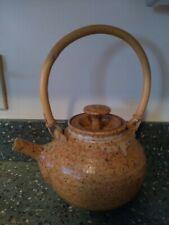 Studio Handcrafted Ceramic Earthenware Pottery Stoneware TEAPOT Wicker Handle