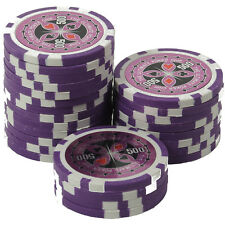 25 Pokerchips 13g Clay (Ton) Wert 500 lila Metallkern Ultimate Poker Laser
