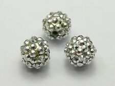 20 Pcs Silver Acrylic Rhinestone Pave DISCO Ball Beads 14mm Spacer