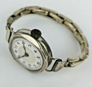 Ladies Silver Art Deco Watch with Silver Expanding Strap - Working (B110)