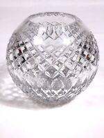 """Cut Crystal Glass ROSE BOWL Diamond & Ovals Pattern 5"""" Tall 2-1/2 lb"""
