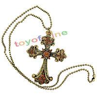 Bronze Retro Gothic Long Women Sweater Necklace Pendant Coat Chain