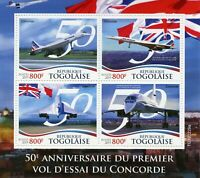 Togo Aviation Stamps 2019 MNH Concorde First Test Flight 50th Anniv 4v M/S