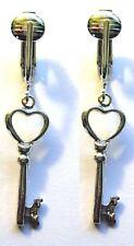 Clip On Earring w/ real genuine sterling silver charm looks like pierced key