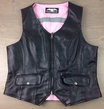 Womens Motorcycle Vest XL Missing Link G2 DOC Reversible Safety Leather Pink Blk