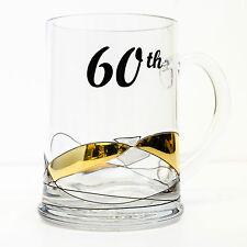 Premium Handmade 60th Birthday Beer Mug Tankard 500ml Glass Personalised Gift