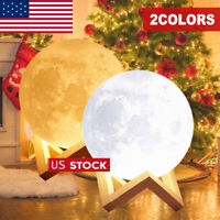 15-20CM 3D Printing Large Moon Lamp Moonlight USB LED Night Lamp 2Color Changing