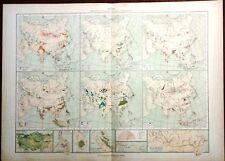 Carta geografica antica ASIA Vegetali Animali De Agostini 1927 Antique map