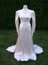 Vintage DECO White Satin Wedding Gown with Court Train