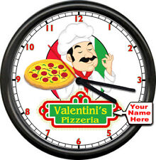 Personalized Pizza Pizzeria Your Name Logo Cafe Restaurant Sign Shop Wall Clock