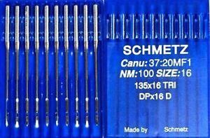 SCHMETZ DPX16D 135X16TRI CANU37:20MF1SIZE100/16 INDUSTRIAL SEWING MACHINE NEEDLE