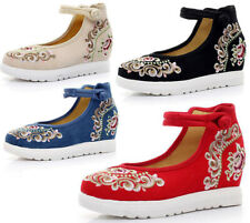 Womens Ethnic embroidery Floral Ankle Strap Wedge Sandals Flat Sneakers Shoes