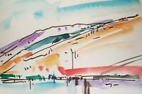 JOSE TRUJILLO ORIGINAL BRIGHT Watercolor Painting Expressionism 6x9 RIVER HILLS