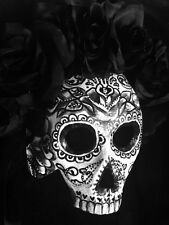 Sugar Skull Half  Mask Day Of The Dead Dia De Los Muertos Black Rose Buds S9-365