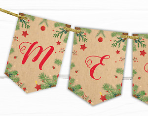 Merry Christmas Party Bunting Decoration - Xmas Banner Garland