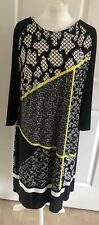 Womens M&S Size 18 Shift Dress Black White Neon Work Office Casual