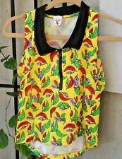 Danskin Athletic Exercise Bike Yellow Chili Peppers Size L Racer Back 1/4 Zip