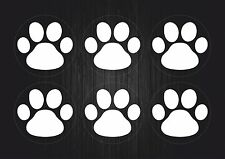 Set 6x sticker decal vinyl car bike laptop bumber animal paw dog cat white
