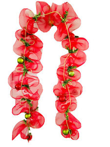 9 Ft Mesh Christmas Garland For Door Mantel Red Green Ornaments Ribbon Tube