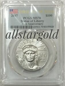 2017 $100 platinum PCGS MS 70  First day of issue 20th anniversary pop 472