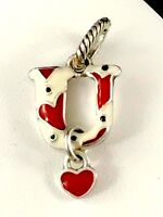 FABULOUS BRIGHTON SILVER PLATED WHITE RED ENAMEL 'U' CHARM DANGLE HEART
