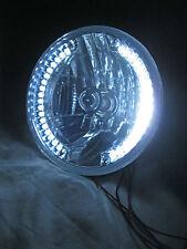 "Street Rod 7"" H4 Prism Headlights w Clear LED Turn Signals Halo No Tri Bar PAIR"